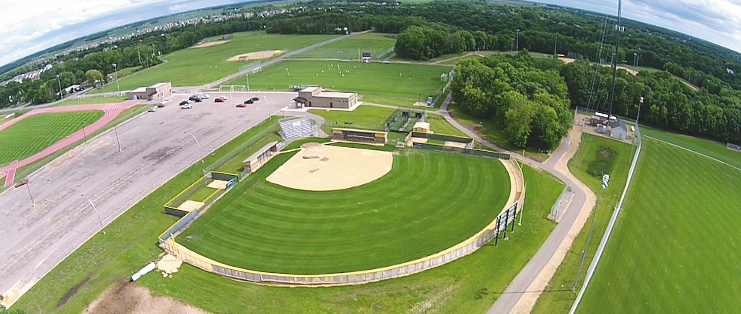 ball fields aerial view at Minnesota State Mankato